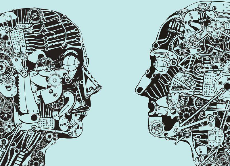 illustrazione di due volti umani con ingranaggi